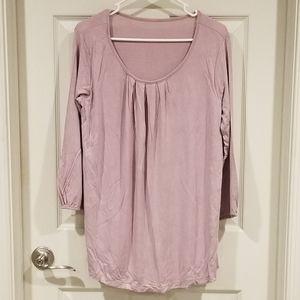 Maternity & nursing scoop neck top, lavender, 10